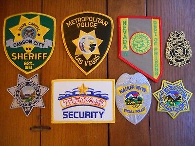 8 diff Nevada police, sheriff and casino security patches Lot B - free shipping