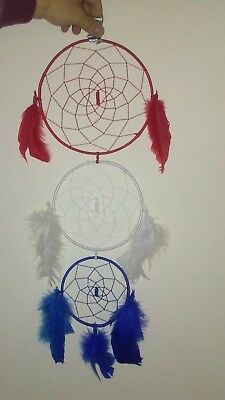 3 Ring Dreamcatcher, 2 ft. Handmade Red White and Blue
