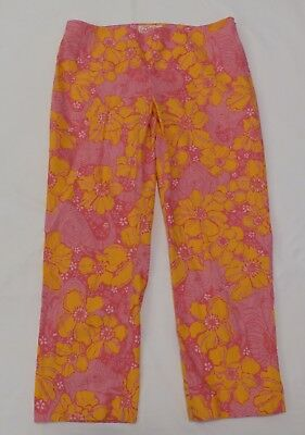 """Womens Lilly Pulitzer Pink Floral Elephant Print """"Resort Fit"""" Pants Size 8"""