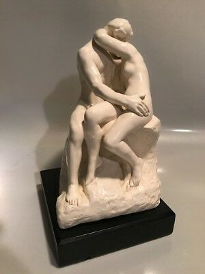 Beautiful Reproduction Of Rodin's The Kiss Sculpture On White Marble Stone Resin