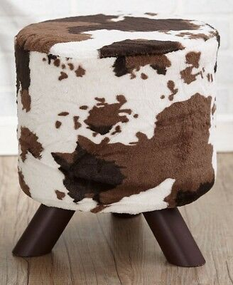 Miraculous Animal Print Fabric Covered Ottoman Foot Stool Cream Brown Caraccident5 Cool Chair Designs And Ideas Caraccident5Info