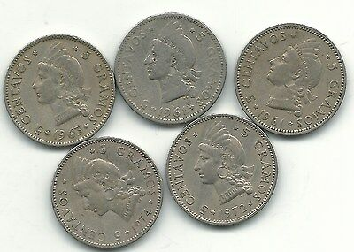 Very Nice Lot 5 Dominican Republic 5 Centavos-(2)1961,1963,1972,1974-May031