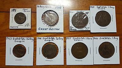 PIC 1 LOT~GEORGE VI~WORLD WAR II Britain 1937 1940 1943 1944 Farthing~Half~Penny