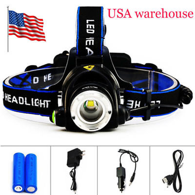 Rechargeable LED Headlamp Headlight Zoomable 3 Modes Camping BBQ Repairing Light