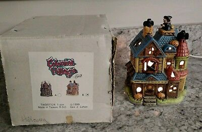1989 Lefton Lighted Halloween Haunted House Witch Bat Pumpkins w/Box