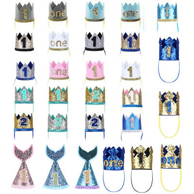 Baby Boy Girl 1st First Birthday Party Hat Princess Prince Crown Hair Accessory