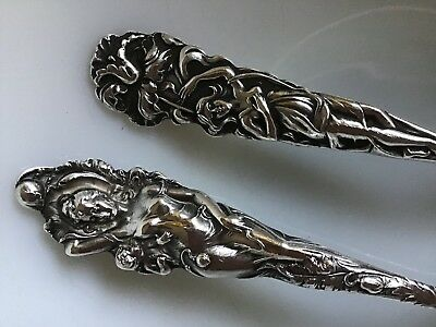 Pair Alvin Raphael w/ Reed Barton Love Disarmed Nouveau Sterling Silver Spoons