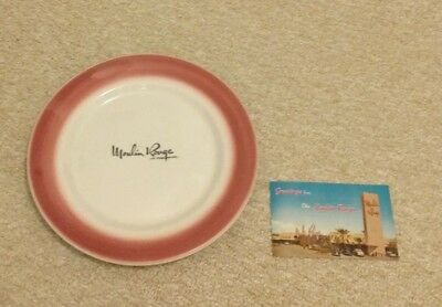 old Moulin Rouge Las Vegas NV dinner plate + postcard casino hotel gambling rare