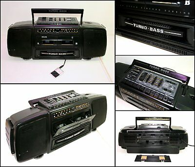PHILIPS AU 7590/10 Turbo Bass Radio Double Cassette Boombox (AUX Line in)
