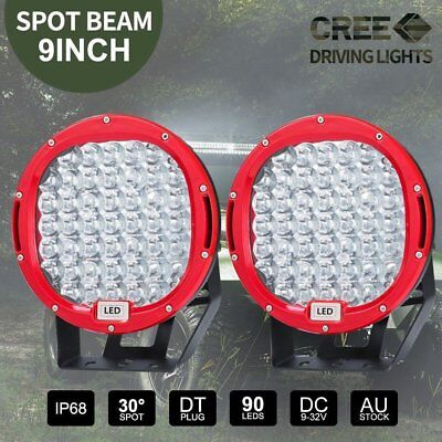 PAIR 9 inch LED SPOT Driving Lights Round CREE Spotlights 12V 24V RED 99999W