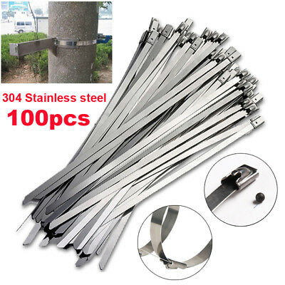 100pcs Stainless Steel Header Exhaust Wrap Straps Self Locking Cable Zip Ties