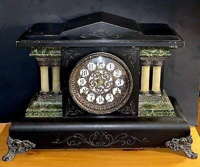 Antique Sessions 4 Pillar Black Marble Pattern Mantle Clock Working! Read!
