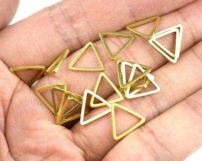 30pcs Raw Brass Triangle Pendant Charms Flat Geometric Connector Jump Rings