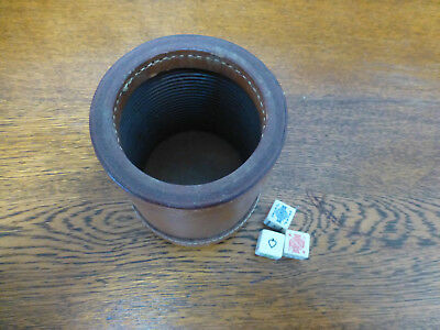 vintage tan leather dice cup shaker heavy bottom ribbed inside + 3 dice