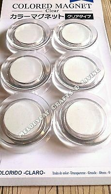 6PCS Extra Strong Magnetic Buttons Pin Fridge Magnets WhiteRing White 40mm!