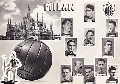 Calcio/Football Cartolina sq. MILAN 1954-'55 con LIEDHOLM, NORDHAL originale