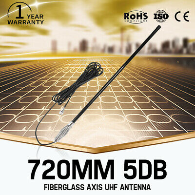 Black Hi Gain UHF Antenna Fibreglass Axis 5DB 720mm For Oricom Uniden GME