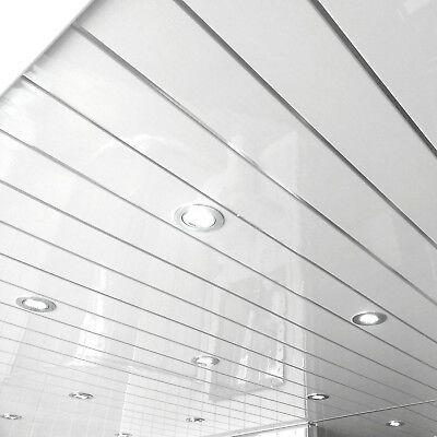 Gloss White PVC Ceiling Panels Silver Groove or White Groove Bathroom Cladding