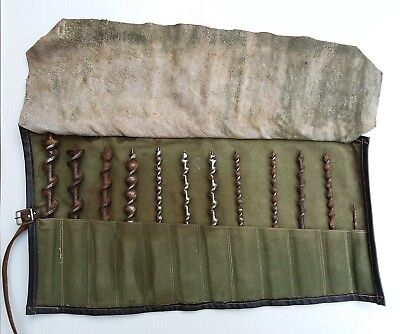 12 x VINTAGE DRILL BIT SET WOOD AUGER HAND BRACE DRILL CANVAS ROLL CASE