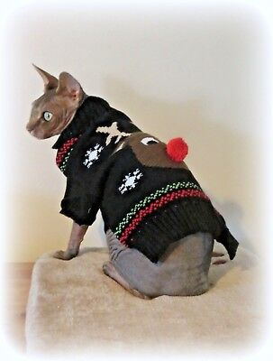 kitten REINDEER Warm winter top for a Sphynx  cat clothes, jumper, sweater