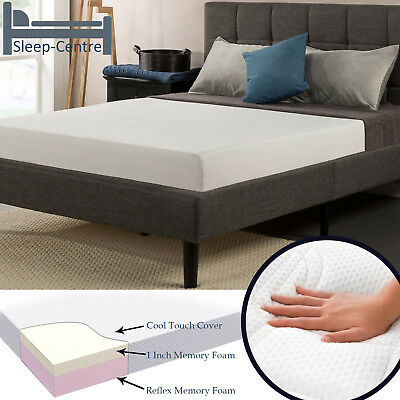 Visco Memory Foam Mattress Washable Cool Touch Cover 2FT6,3FT,4FT,4FT6,5FT,6FT