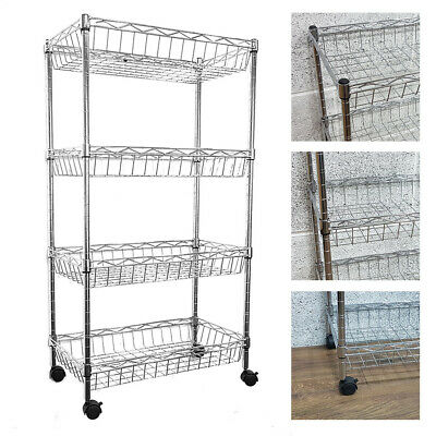 84x45x25cm Real Chrome Wire Rack Metal Steel Kitchen Shelving Racks Casters UKED