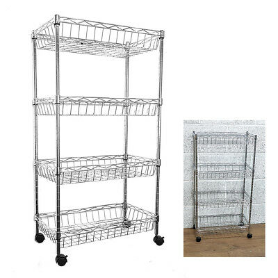 84x45x25cm Real Chrome Wire Rack Metal Steel Kitchen Shelving Racks Casters UKES