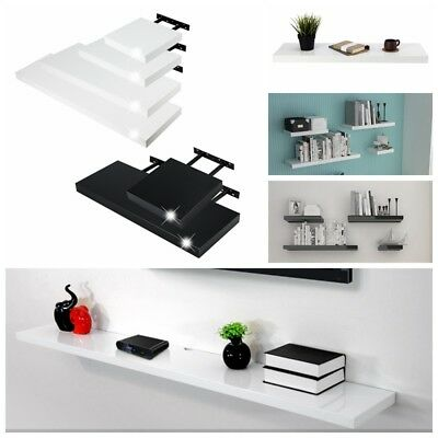 Black White High Gloss Floating Shelf Shelves Display Unit Wall Mounted Bookcase
