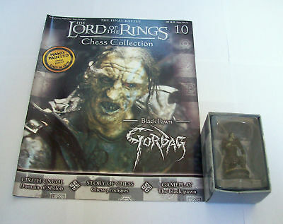 LORD of the RINGS CHESS Piece FIGURE GORBAG in BOX & MAGAZINE #10