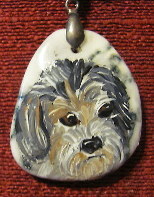 Petit Bassett Griffon Vendeen hand painted on free form pendant/bead/necklace