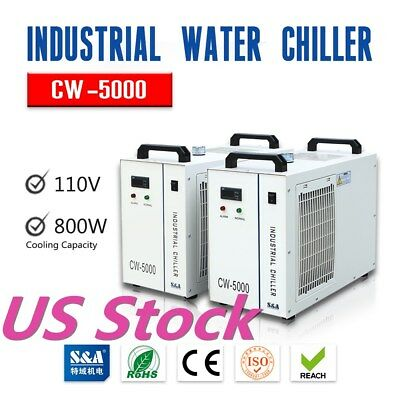 US Stock S&A CW-5000 Industrial Water Chiller for 5KW Spindle Machine, 110V