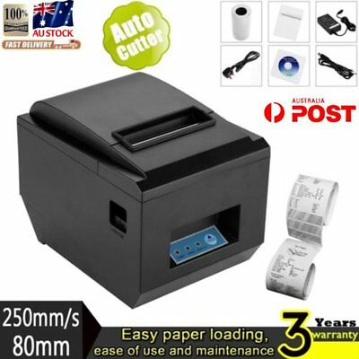 80mm USB POS Thermal Dot Receipt Bill Printer High Speed Auto Cutter 250mm/s A4