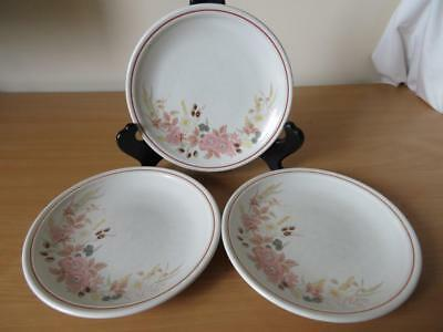 """3 x BOOTS HEDGE ROSE 7½"""" SIDE PLATES GOOD COND"""