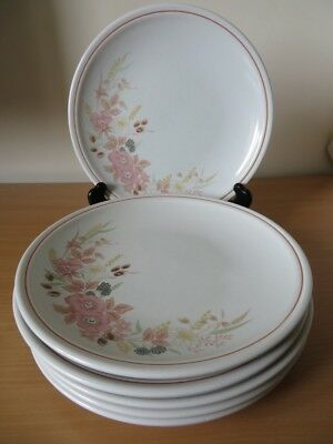 """6 x BOOTS HEDGE ROSE 10"""" DINNER PLATES V.G.COND"""