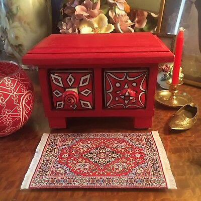 Boho Style Wooden Jewellery Red Box Ceramic Drawers Keepsakes Trinkets Desk Top