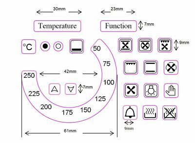 Replacement oven temperature dial sticker decals 50-250 + 17 small oven symbols