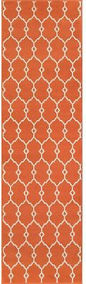Trellis Runner Area Rug 2 x 8 ft. Geometric Indoor Outdoor Floor Carpet Orange