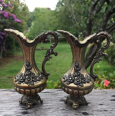 Pair Of 2 Small Vintage Brass Jugs Decorative Italian European Style 11cm