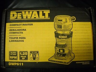 DeWALT DWP611 1.25HP Compact Premium VS Woodworking Router Tool LED Light NEW