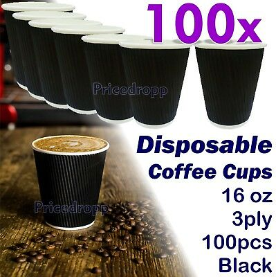 100 x Disposable Coffee Cups 3ply Tea Hot Drinks Ripple Cardboard -- 16oz BLACK