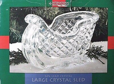 By International Silver Co. Lead Crystal Sled Holiday Bowl Dish Centerpiece