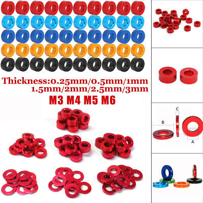 10/20/50/100PCS M3 M4 M5 M6 Round Aluminum Alloy Flat Spacer Washer Gasket Ring