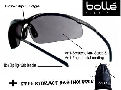 Bolle Contour Protective Metal Frame Smoked Lens Safety Spectacles Glasses EN166