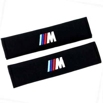 2X Car Seat Belt Shoulder Pads Strap Cover Cushion Embroidered for BMW M Black