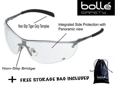 Bolle Silium Lightweight Clear Lens Panoramic Safety Glasses + FREE STORAGE BAG