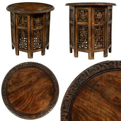 Cotton Craft Jaipur Solid Wood Hand Carved Accent Coffee Table Antique Brown