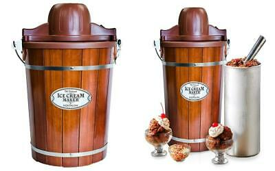 Nostalgia ICMP600WD Wood Bucket Ice Cream Maker, 6-Quart 6-Quart, Brown