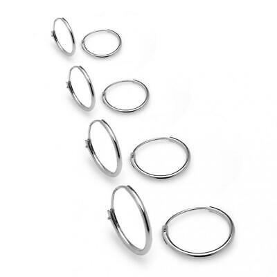 Sterling Silver 4 Pair Set 10,12,14 & 16mm Small Endless Unisex Hoop...