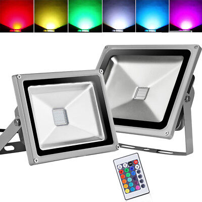 LED Floodlight 10W 20W 30W 50W 100W RGB Color Garden Outdoor Spotlight +Remote
