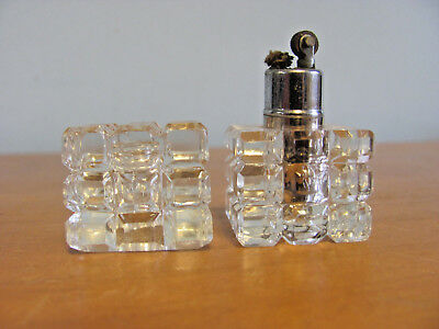 Vintage Lead Crystal Made In Japan Clear 2 Inch Tall Lighter